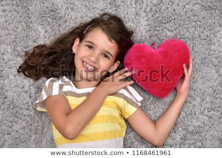 boldog · nő · vörös · ruha · kulcs · kéz · ül - stock fotó © dash