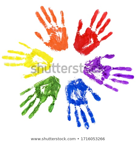 close up of colored hand print on white stock photo © vlad_star
