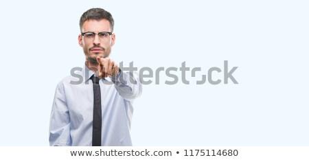 Sakal iş adamı bilgisayar ofis adam mutlu Stok fotoğraf © sebastiangauert