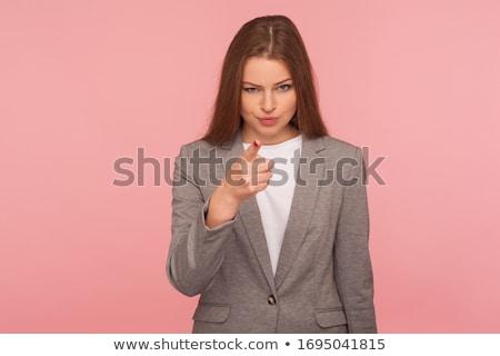 donne · silenzio · bianco · ragazza · faccia · blu - foto d'archivio © lisafx