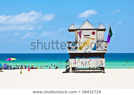 木製 · 時計 · 小屋 · ビーチ · 空 · 水 - ストックフォト © meinzahn
