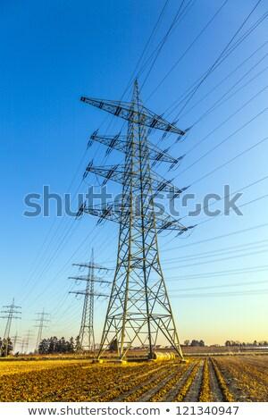 tájkép · elektromos · transzformátor · állomás · kék · ég · égbolt - stock fotó © meinzahn
