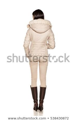 Bastante jovem morena botas curto vestir Foto stock © rcarner