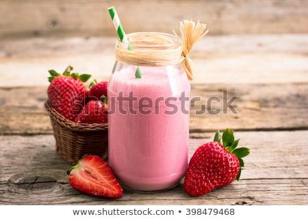 イチゴ · スムージー · フルーツ · ガラス · 朝食 · 甘い - ストックフォト © M-studio