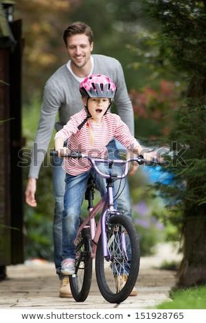 pai · ensino · filha · bicicleta · jardim · crianças - foto stock © monkey_business