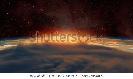 Látványos naplemente fényes arany felhők égbolt Stock fotó © meinzahn