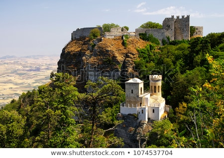 panoramic view of three ancient fortresses of Erice town, Sicily, Italy Stock photo © Dserra1