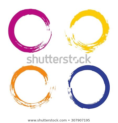 Turuncu boya fırçası daire vektör çerçeve doku Stok fotoğraf © gladiolus