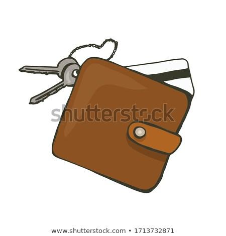 черный кожа ключевые бумажник случае белый Сток-фото © dezign56