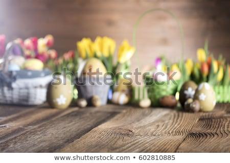 Húsvét kosár üdvözlőlap design sablon tele húsvéti tojások Stock fotó © HelenStock