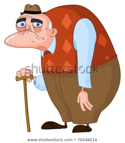Cartoon wściekły stary człowiek projektu sztuki Zdjęcia stock © lineartestpilot