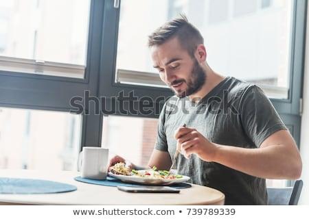Férfi eszik jóképű férfi kínai japán ázsiai Stock fotó © piedmontphoto