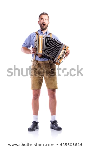 Man spelen accordeon vergadering Rood oude Stockfoto © papa1266