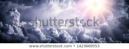 Jézus Krisztus kereszt égbolt felhők Biblia Stock fotó © tilo
