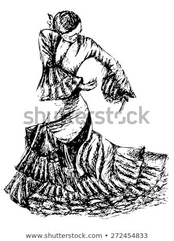 Flamenko dansçı heykel heykel kırmızı elbise Stok fotoğraf © Kayco