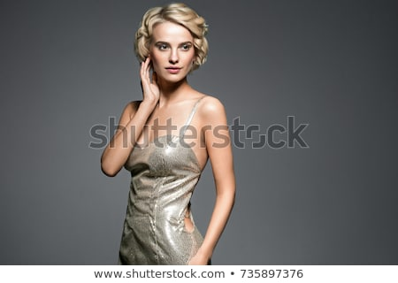 Teljes alakos fiatal nő fehér estélyi ruha nő divat Stock fotó © gromovataya