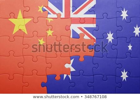 Ausztrália Kína zászlók puzzle vektor kép Stock fotó © Istanbul2009