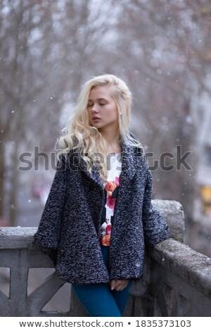 Loiro menina posando varanda ver Foto stock © dash