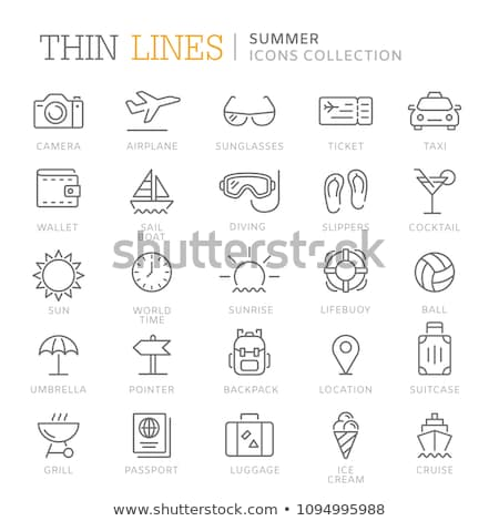 Beach slippers thin line icon Stock photo © RAStudio