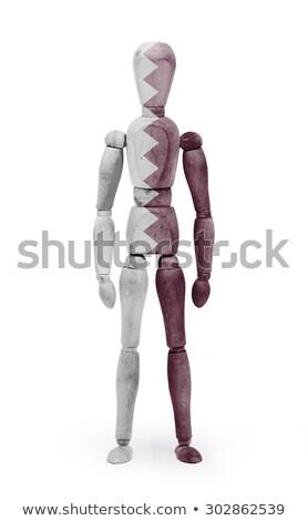 Wood figure mannequin with flag bodypaint - Qatar Stock photo © michaklootwijk