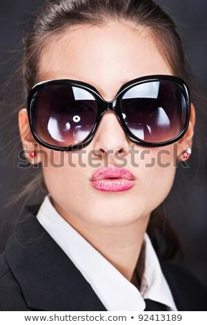 Foto stock: Businesswoman Sending Big Kiss