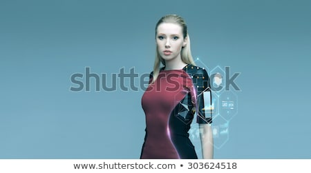 Güzel fütüristik kadın sanal projeksiyon insanlar Stok fotoğraf © dolgachov