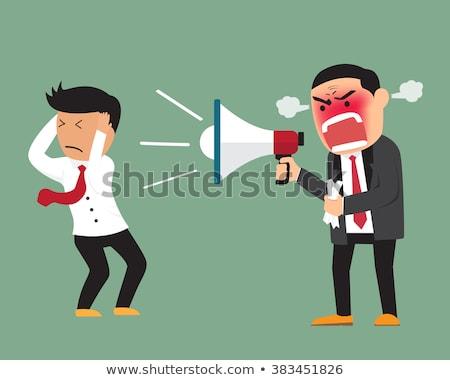 crazy businesswoman shouting in megaphone stock photo © dolgachov