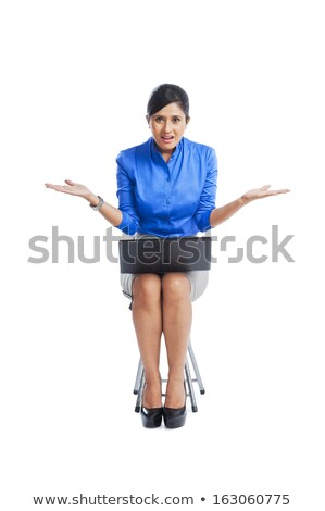 jeune · femme · travail · portable · regarder · tristesse - photo stock © imagedb