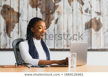 szczęśliwy · kobieta · interesu · stałego · korytarzu · uśmiechnięty · dumny - zdjęcia stock © nyul