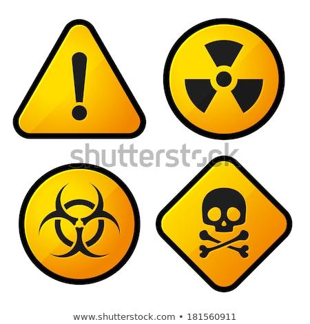 Bioveszély felirat citromsárga vektor ikon gomb Stock fotó © rizwanali3d