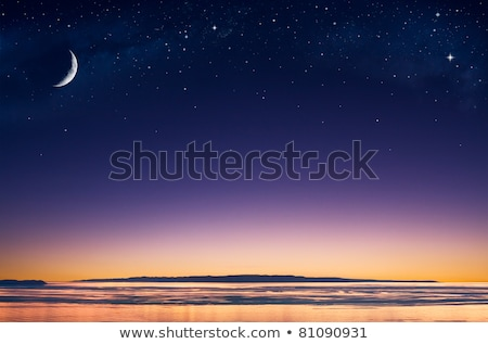 Stock photo: Sunset over blue dark night sky