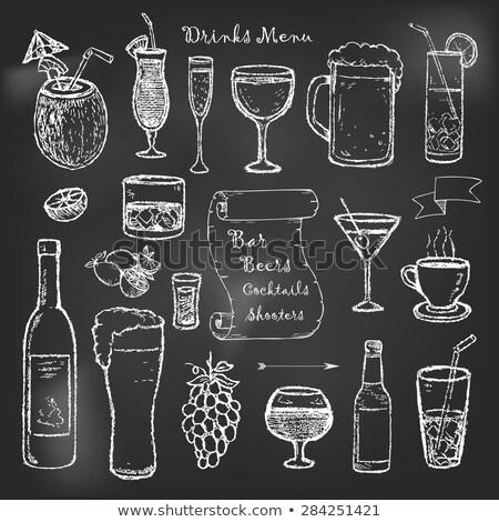 champagne · bouteille · verre · noir · résumé - photo stock © netkov1