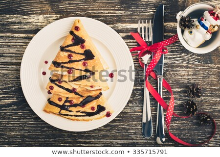 retro toned christmas and new year chocolate cake stock photo © stevanovicigor