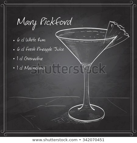 Cocktail Mary Pickford on black board Stock photo © netkov1