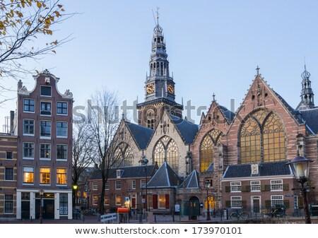 Amsterdam oude kerk Nederland boom gebouw Stockfoto © vichie81