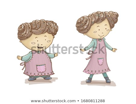 Young pretty girl with hair rolls - Raster Illustration Stock photo © gigi_linquiet