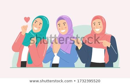 Stockfoto: Aanbiddelijk · vrouw · hoofddoek · groene · gezicht