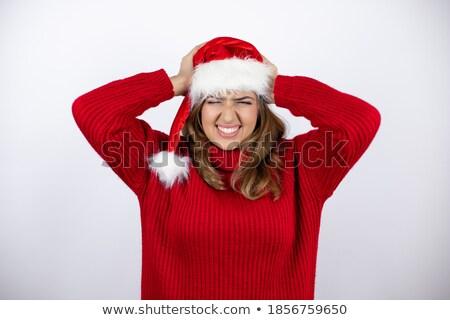 Kétségbeesett csinos nő kezek fej szenvedés fejfájás Stock fotó © deandrobot