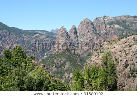unusual rhino horn shaped peaks on a corsican mountain stock photo © perszing1982