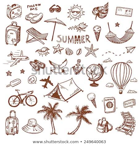 kézzel · rajzolt · üzlet · ikon · szett · firka · nyilak · diagramok - stock fotó © pakete