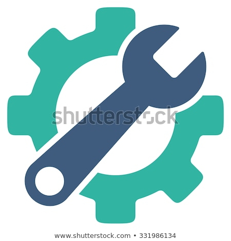 repair tool icon with gear wheel and wrench stock photo © djdarkflower