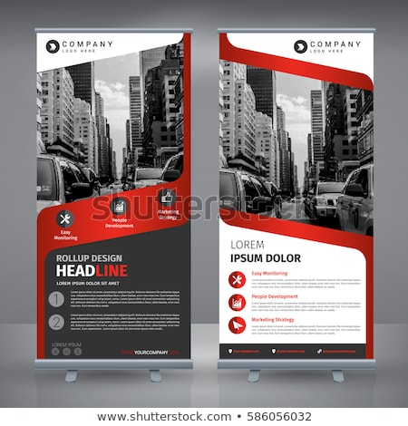 Red Roll up banner stand template, stand design,banner template, Stock photo © ganpanjanee