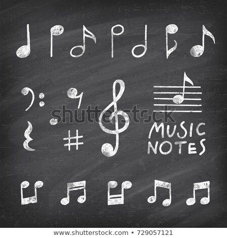 Drawing music notes by a chalk stock photo © romvo