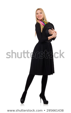 Stock photo: Tall model in black skirt isolated on white