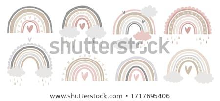 Hart regenboog druppels vloeibare witte water Stockfoto © blackmoon979