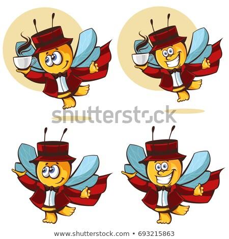 zangado · abelha · desenho · animado · ilustração · grandes · olhos · cara - foto stock © sdcrea