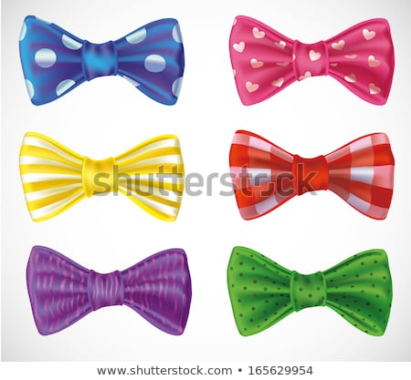 set of isolated pink green and blue photorealistic silk polka dots bows stock photo © fresh_5265954