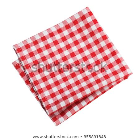 Piros fehér szalvéta kockás ruha tiszta Stock fotó © Digifoodstock