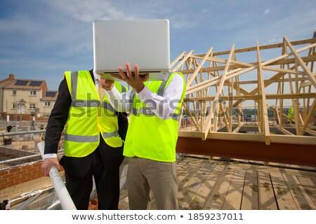 Stockfoto: Bouwer · kijken · blauwdruk · ingenieur
