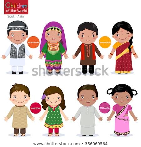 Gyerekek hagyományos jelmez illusztráció gyerekek boldog Stock fotó © bluering
